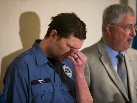 Correctional officer Winslow H. Smith attends a press conference announcing a federal lawsuit. Smith was held hostage during the siege at Vaughn Correctional Center.