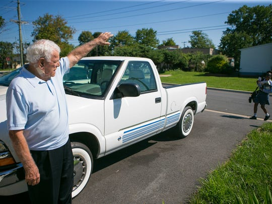 """Vincent """"Jimmy"""" Gambacorta waves to his mail carrier in front of his New Castle home. Gambacorta was appointed the new mayor of New Castle by the City Council Tuesday night."""