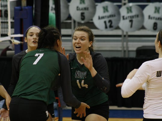 Novi volleyball standout Erin O'Leary (14) celebrates