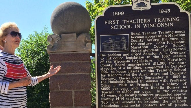 Ruth Schuette of Wausau's west side talks about why she felt it was important to revamp on historic marker commemorating the first teachers training school in Wisconsin.