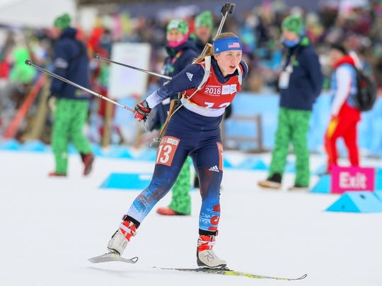 Chloe Levins competing in the Single Mixed Biathlon Relay at the Birkebeineren Biathlon Stadium during the Winter Youth Olympic Games in Lillehammer Norway, on Wednesday.