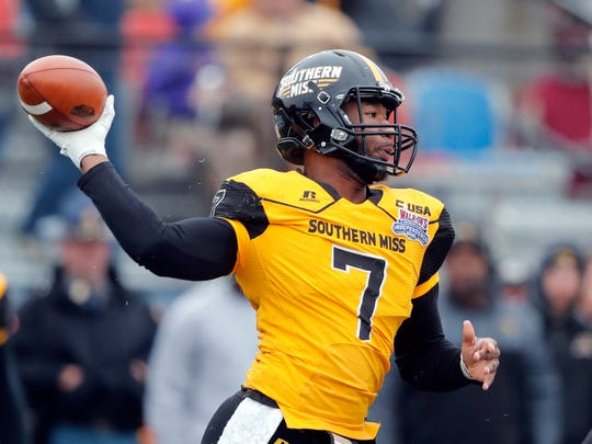 Southern Mississippi quarterback Kwadra Griggs (7) passes in the first half of the Independence Bowl NCAA college football game against Florida State in Shreveport, La., Wednesday, Dec. 27, 2017. (AP Photo/Gerald Herbert)
