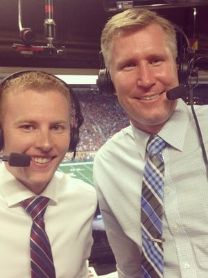 Brent Blum, left, and Sage Rosenfels handled Saturday's broadcast on Cyclones.TV.
