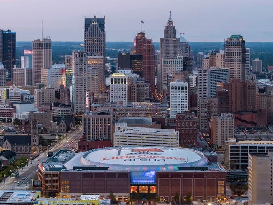 Little Caesars Arena overview, Detroit skyline