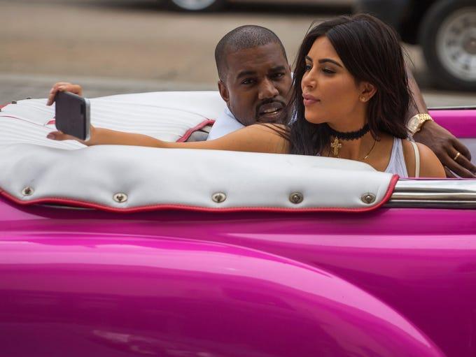American reality-show star Kim Kardashian takes a selfie