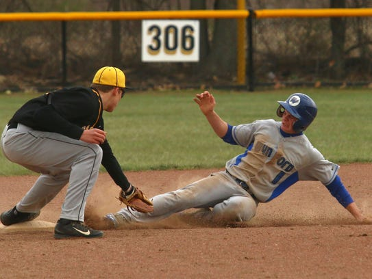 Wynford's Trey Stone slides into second base against