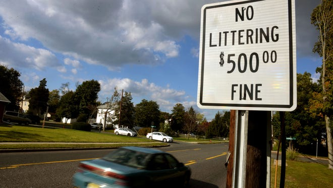 No Littering $500 Fine a sign reminds Main Road passersby Sunday, Oct. 23, 2016 in Vineland.