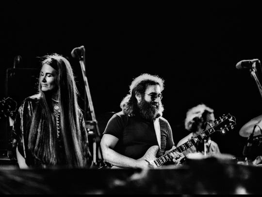 The Grateful Dead, pictured by photographer Adrian Boot in Egypt in 1978, with Donna Jean Godchaux (from left), Jerry Garcia and Bill Kreutzmann.