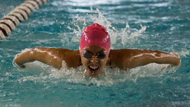 Las Cruces High swimmer Emilee Lopez competes at the New Mexico State University Aquatic Center in 2016. The city of Las Cruces is seeking funding to build its own competitive swimming pool.