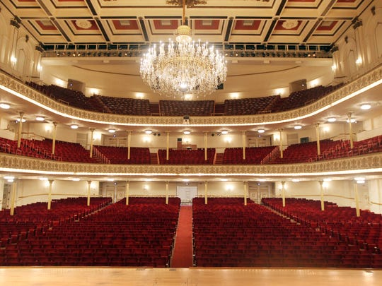 Music Hall will shut down in June for a $135 million construction project lasting 16 months. New walls will be built behind the existing columns on the main and balcony floors. View of Music Hall from center stage.