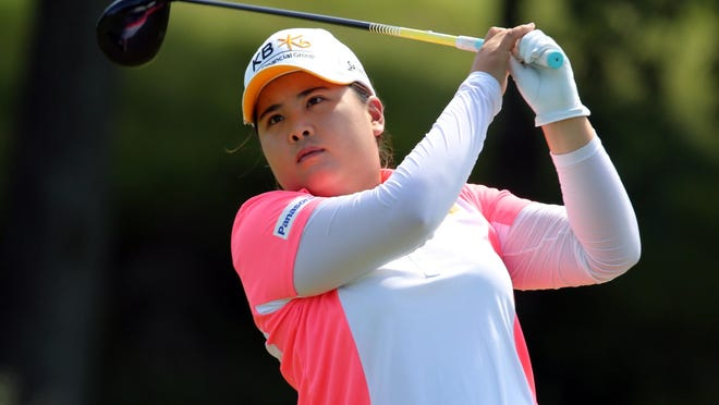 Inbee Park tees off on the ninth hole during action in the third round of the KPMG Women's PGA Championship at the Westchester Country Club in Harrison, June 13, 2015.