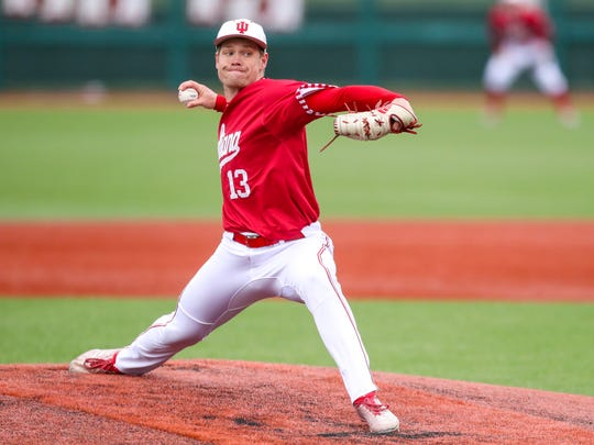 Pitcher Cal Krueger of the Indiana Hoosiers during a game against the  Purdue Boilermakers.