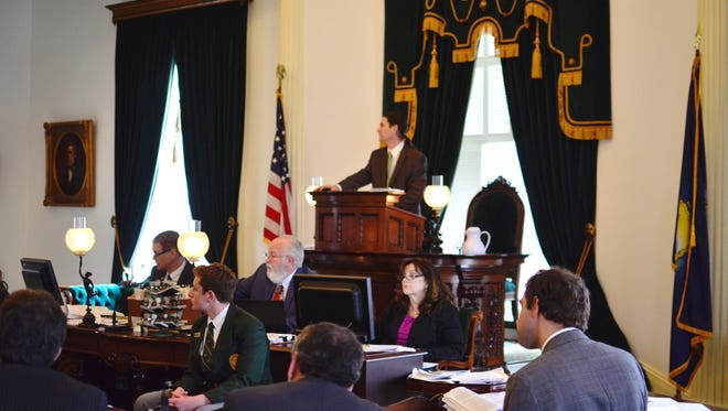 Lt. Gov. David Zuckerman presides over a meeting of the Vermont Senate on April 26, 2017.