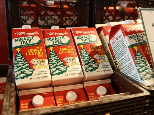 Boxes of Stew Leonards's Miracle Tree liquid are pictured at the Yonkers store, Dec. 6, 2017.