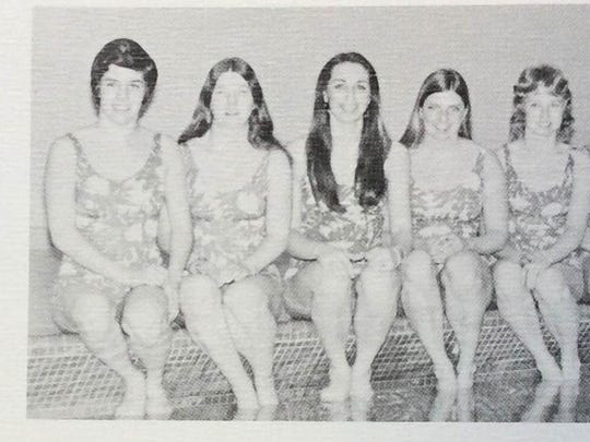 Mary Gen Hagan is the swimmer farthest right in this 1974 College of Great Falls yearbook. Her daughter Katie Ledecky is winning medals at the Olympics in Rio.
