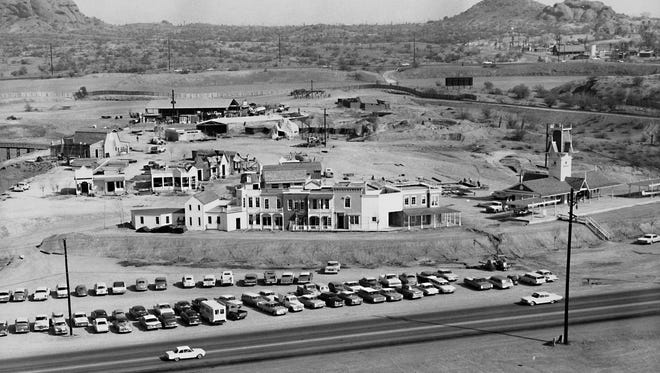 Legend City begins to take shape in this early 1962 photograph. Papago Park provides the backdrop. Washington Street is in the foreground. The iconic train depot is at right before track was laid.
