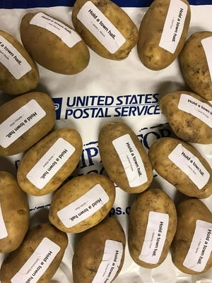 Potatoes gathered by Cards Against Humanity for shipment to Sen. Ron Johnson, urging him to hold town hall meetings.