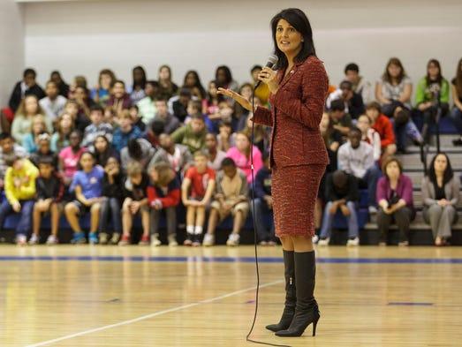 South Carolina Gov. Nikki Haley speaks to students about bullying at Leslie Stover Middle School in Elgin on Nov. 1.