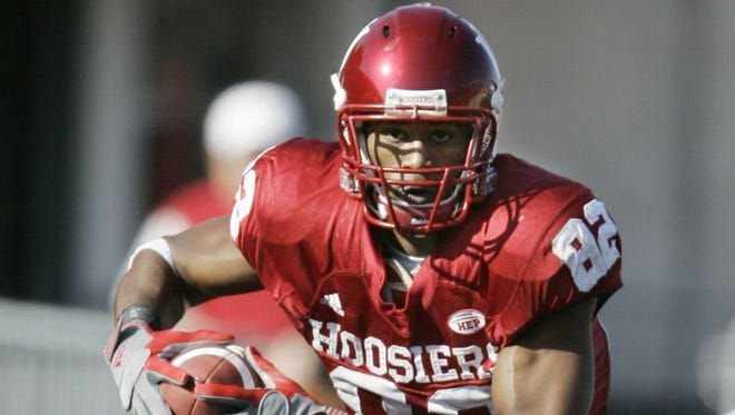 In this Nov. 3, 2007 file photo, Indiana wide receiver James Hardy runs after making a reception during the third quarter of a football game against Ball State in Bloomington, Ind.