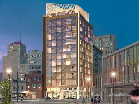 A rendering of 88 Elm St. looking east from the Midtown site as the building would appear once renovated.
