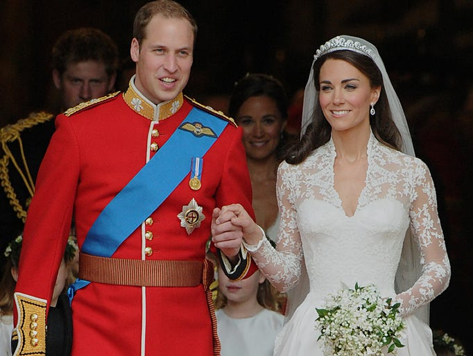 Kate Middleton became engaged to Prince William with the same ring Princess Diana wore in 1981, made from 14 diamonds encircling an 18-carat sapphire. They married April 29, 2011.