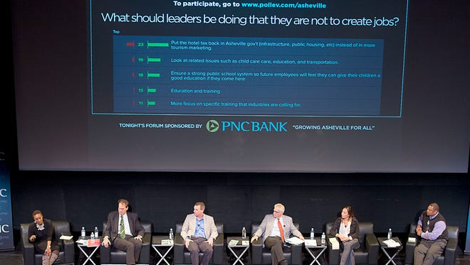 From left to right: Panelists, former Mayor Terry Bellamy, Jack Cecil, Jeremy Littlejohn, John McKibbon, Dr. Mai Thi Nguyen and Pastor Micheal Woods discuss Asheville's growth Tuesday November 10, 2015 during the Citizen-Times Community Forum at the Diana Wortham Theater.