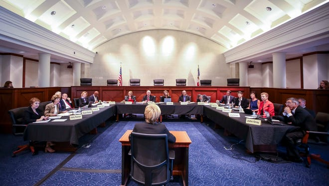 The State Judicial Nominating Commission interviews District Court Judge Susan Christensen on July 10 in the Judicial Branch Building in Des Moines.