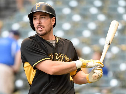 FILE - In this Aug. 25, 2016, file photo, Pittsburgh Pirates' Matt Joyce warms up before a baseball game against the Milwaukee Brewers,in Milwaukee. The Oakland Athletics have found their potential new right fielder, agreeing to terms with Matt Joyce on an $11 million, two-year contract Wednesday, Nov. 30, 2016. (AP Photo/Benny Sieu, File)