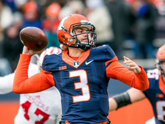 Illinois quarterback Jeff George Jr. (3) throws a pass during the first quarter of an NCAA college football game against Indiana, Saturday, Nov. 11, 2017 at Memorial Stadium in Champaign, Ill. (AP Photo/Bradley Leeb)