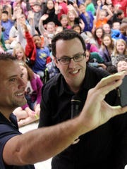 Russ Taylor (left) and Jared Fogle spoke March 20,