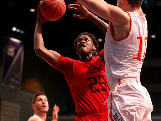 Dwayne Morgan goes to the hoop during SUU's win over Idaho State in last season's Big Sky tournament.