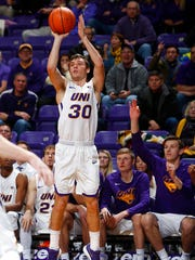 Northern Iowa's Spencer Haldeman sinks a 3-pointer