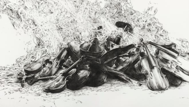 """""""Untitled II,"""" by Julie Comnick, 2013. Charcoal on paper, 45 x 54 inches. Part of the exhibit """"Arrangement for a Silent Orchestra."""""""