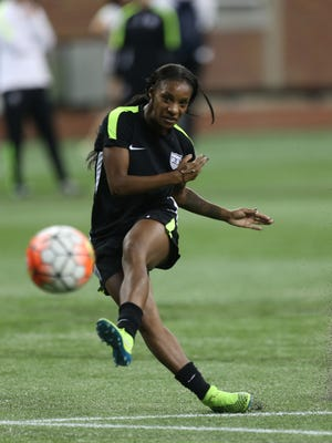 Crystal Dunn takes a shot during United States Women's National Team practice on Sept. 16, 2015 at Ford Field.