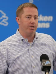 Lions general manager Bob Quinn speaks to reporters after the firing of head coach Jim Caldwell on Jan. 1, 2018, in Allen Park.