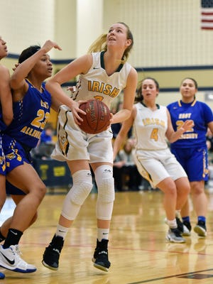 York Catholic's Abby Pilkey eyes the basket against East Allegheny in the first half of a PIAA girls' basketball quarterfinal game Friday, March 16, 2018, at Bald Eagle. York Catholic's season ended with a 77-66 loss to East Allegheny.
