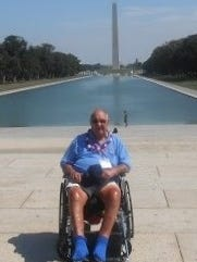 Don Gruenwald in front of the Washington Monument.