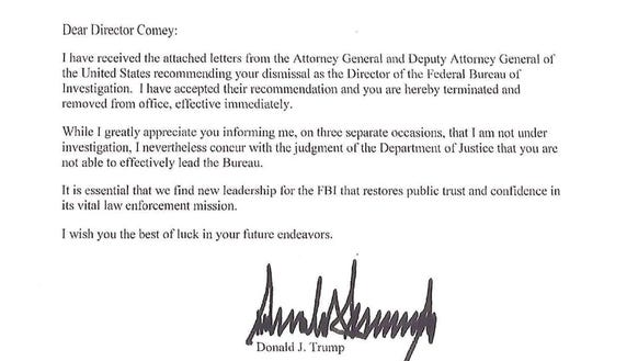 Full Text Of Trump'S Letter Telling Comey He'S Fired