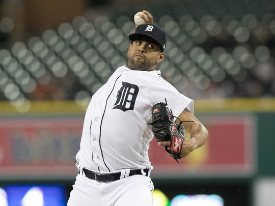 Francisco Rodriguez pitching for the Tigers in 2017.