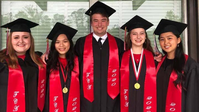 Fellowship Christian Academy of Jacksonville recently had its graduation ceremony. Pictured are five of the seniors, Ivy Curlee, Perry Hoang (Valedictorian), Logan Lemmonds, Brooke Barta (Salutatorian), and Karin Kato.