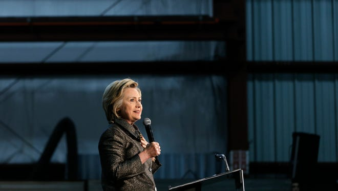 Hillary Clinton speaks during a campaign stop on April 26, 2016, at Munster Steel in Hammond, Ind.