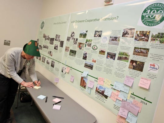 Nancy Gregory, a plant diagnostician for the Cooperative Extension, adds her name to a timeline celebrating 100 years.