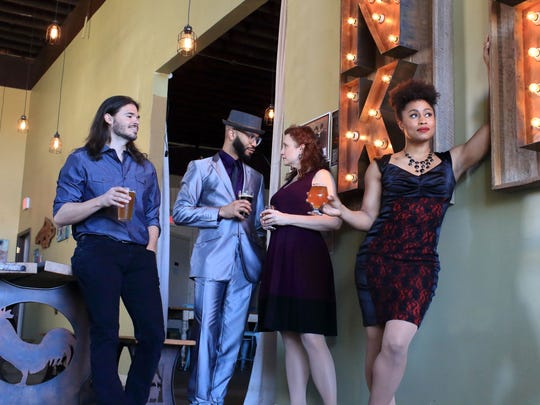 "Cast members, from left, Dustin Brayley, Jared Joseph, Wendy Jones and Breanna Bartley from the Flat Rock Playhouse production of ""Smokey Joe's Cafe,"" photographed in Sanctuary Brewing Company, Hendersonville."