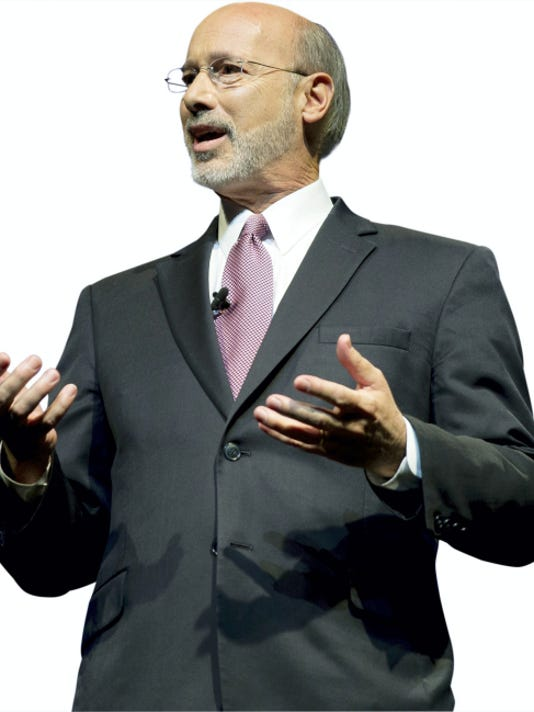 Democrat Tom Wolf speaks during a gubernatorial debate with Republican Gov. Tom Corbett on Monday, Sept. 22, 2014, in Hershey, Pa. The debate was hosted by the Pennsylvania Chamber of Business and Industry.