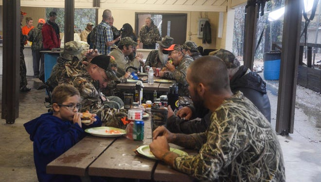 The Louisiana National Guard teamed up with the Louisiana Wildlife and Fisheries Department, Hunters Enriching Lives of People (H.E.L.P.) and the Combat Vets Motorcycle Association (CVMA) to host a deer hunt for disabled veterans at Camp Livingston Wildlife Management Area, Nov. 6-8. A total number of 15 veterans signed up, but because of the weather only 12  veterans participated in the hunt this year. (U.S. Army National Guard photo by Spc. Noshoba Davis)