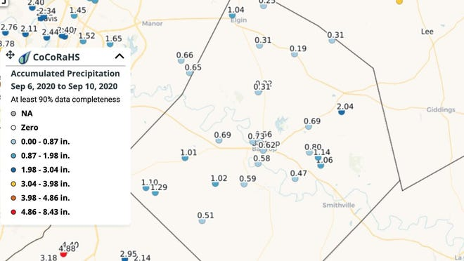 The National Weather Service's Community Collaborative Rain, Hail and Snow Network shows rain amounts that have fallen between Sept. 6 and Sept. 10.