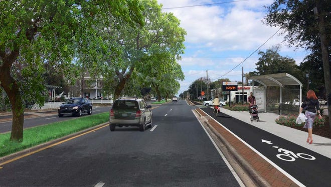 The rendering of proposed improvements to Cervantes Steet including a bike path and landscaped median is included in the East Cervantes Street Corridor Management Plan being developed by the West Florida Regional Planning Council.