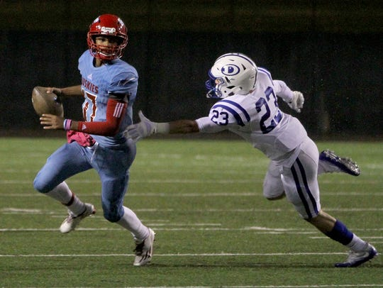 Hirschi's Mar'tez Vrana scrambles out of the reach