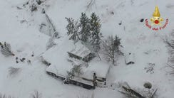 An aerial view of the Rigopiano Hotel hit by an avalanche