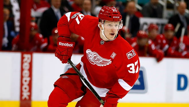 Evgeny Svechnikov #37 of the Detroit Red Wings skates in his first NHL game while playing the Ottawa Senators at Joe Louis Arena on April 3, 2017 in Detroit, Michigan.